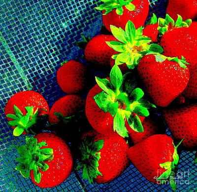 Photograph - Strawberries In Blue Collander - A Garden Fresh  Paintograph by Christine S Zipps
