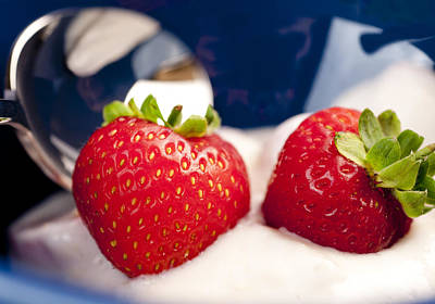 Strawberries In Cream Close-up Food Still-life Of Berries For Breakfast Or Dessert Print by Andy Smy