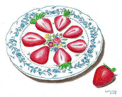Strawberry Drawing - Strawberries by Loraine LeBlanc