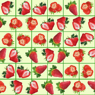 Strawberry Mixed Media - Strawberries Pattern by Gaspar Avila