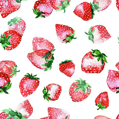 Strawberry Painting - Strawberries by Varpu Kronholm