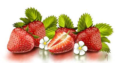 Digital Painting - Strawberries by Veronica Minozzi