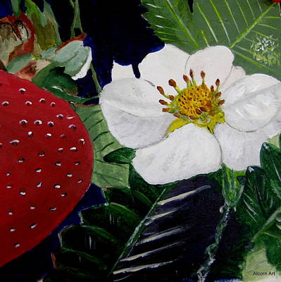 Strawberry And Blossom Art Print by Brenda Alcorn