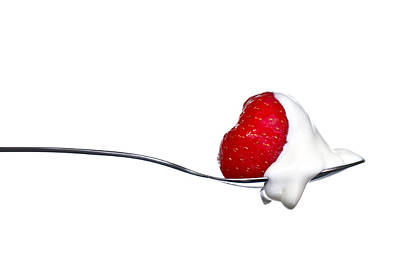 Biting Photograph - Strawberry And Cream by Gert Lavsen