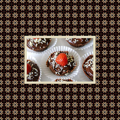 Print featuring the photograph Strawberry And Dark Chocolate Mousse Dessert by Shelley Neff