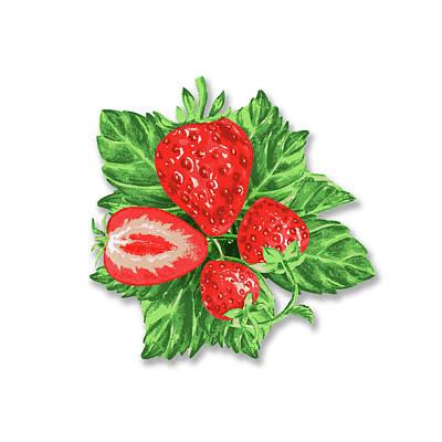 Digital Art - Strawberry Bunch by Irina Sztukowski