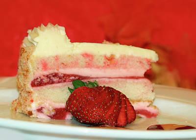 Strawberry Digital Art - Strawberry Cream Cake by Lori Deiter