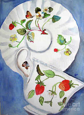 Strawberry Cup And Saucer Art Print by Sandy McIntire