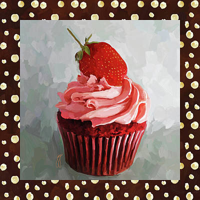 Strawberry Cupcake With Border Art Print by Jai Johnson