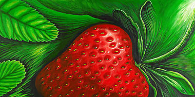 Strawberry Painting - Strawberry by David Junod