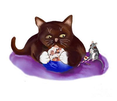 Digital Art - Strawberry Ice Cream For Mouse And Kitten by Ellen Miffitt