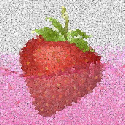 Strawberry In Juice Glass Mosaic Art Print by Miroslav Nemecek