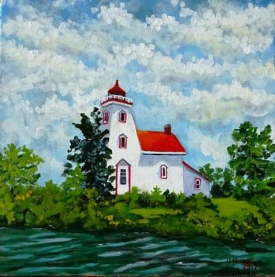 Painting - Strawberry Island Lighthouse, Manitoulin Island by Diane Arlitt