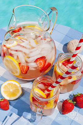 Still Life Royalty-Free and Rights-Managed Images - Strawberry lemonade at pool side by Elena Elisseeva