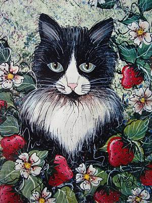 Strawberry Lover Cat Art Print