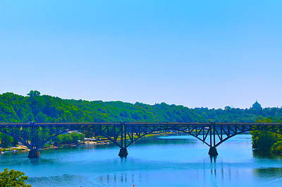 Mansion Digital Art - Strawberry Mansion Bridge From Laurel Hill by Bill Cannon