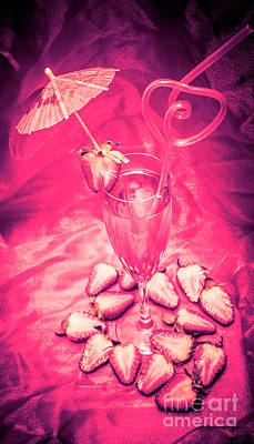 Martini Photos - Strawberry Martini in pink light by Jorgo Photography - Wall Art Gallery