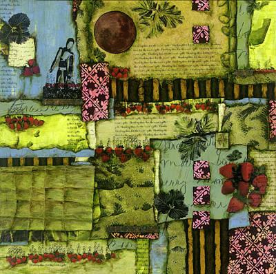 Strawberry Mixed Media - Strawberry Moon by Laura Lein-Svencner