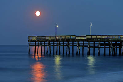 Photograph - Strawberry Moon Over Sandbridge by Jamie Pattison