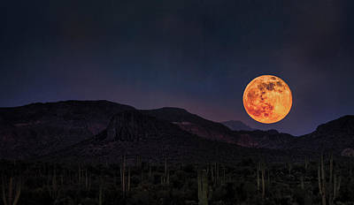 The Superstitions Photograph - Strawberry Moon  by Saija Lehtonen