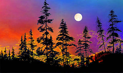Summer Solstice Painting - Strawberry Moon Sunset by Hanne Lore Koehler