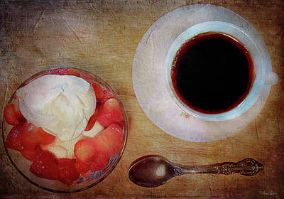Strawberry Shortcake And Coffee Art Print by Anna Louise