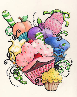 Strawberry Shortcake Cupcake Art Print by Heather Andrewski
