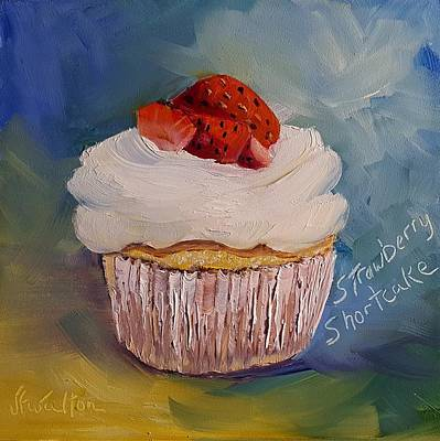 Painting - Strawberry Shortcake Cupcake by Judy Fischer Walton