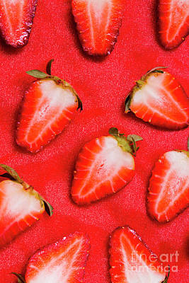 Organic Photograph - Strawberry Slice Food Still Life by Jorgo Photography - Wall Art Gallery