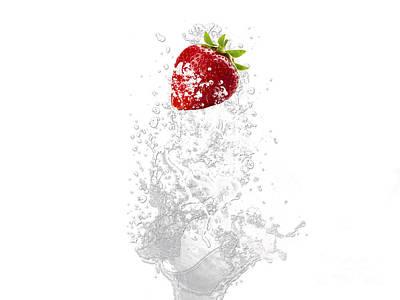 Strawberry Splash Print by Marvin Blaine