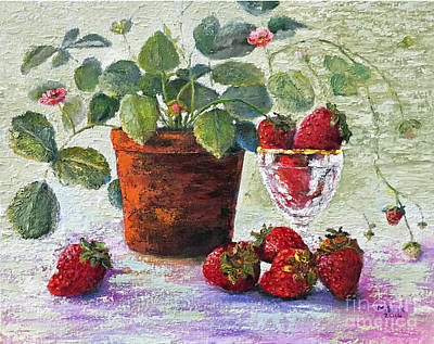 Painting - Strawberry Still Life by Marlene Book
