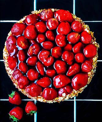 Peach Photograph - Strawberry Tart Pie by Garry Gay