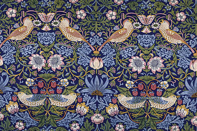 Tapestries - Textiles Digital Art - Strawberry Thief by William Morris