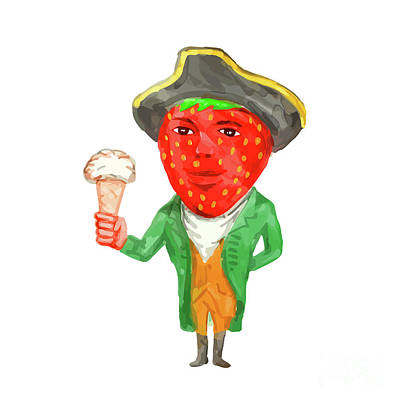 Strawberries Digital Art - Strawberry Tricorn Hat Ice Cream Victorian Gentleman Watercolor by Aloysius Patrimonio