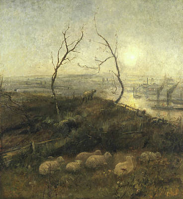 Rising Painting - Strayed, A Moonlight Pastoral, 1878 by Cecil Gordon Lawson