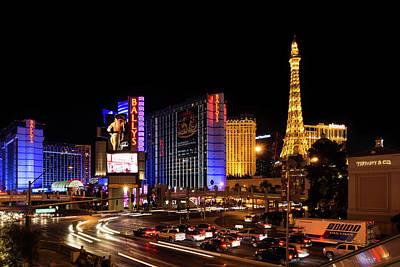 Photograph - Streaking Along The Famous Strip - Las Vegas Neon Rush by Georgia Mizuleva