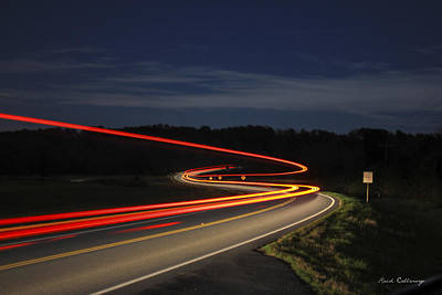 Photograph - Streaking At Night Highway 15 Greene County Georgia by Reid Callaway