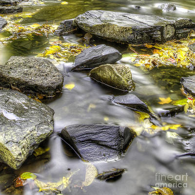 Stream Over Rocks In Fall Art Print by Twenty Two North Photography