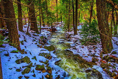 Stream Through Snowy Forest Art Print