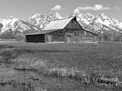 Streaming By The Moulton Barn Black And White Art Print by Adam Jewell
