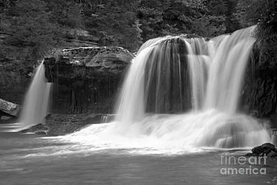 Photograph - Streaming Over Cataract Falls Black And White by Adam Jewell