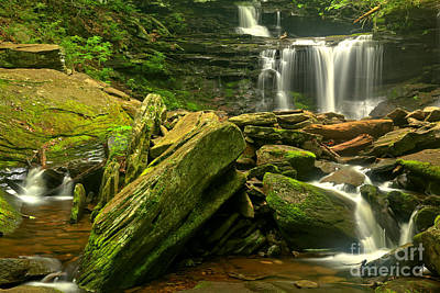 Photograph - Streaming Through The Boulders At Ricketts Glen by Adam Jewell