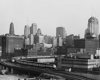 Photograph - Passenger Train Cuts Through Chicago - 1962 by Chicago and North Western Historical Society