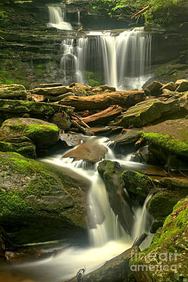 Photograph - Streams Through The Rocks At Ricketts Glen by Adam Jewell