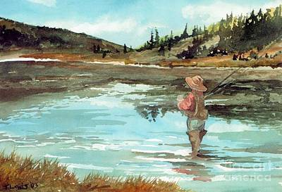 Sporting Art Painting - Streamside View by Trevor Lewis