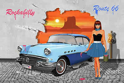 Route 66 Mixed Media - Street-art Rockabilly And Route 66 by Monika Juengling