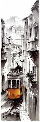Street At Graca Lisbon Tram Art Print