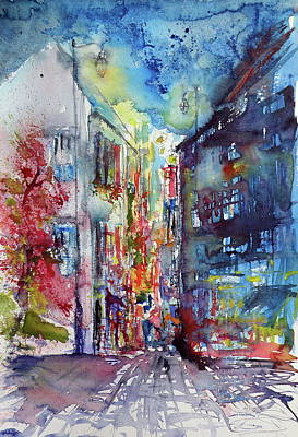 City Village Painting - Street At Night by Kovacs Anna Brigitta