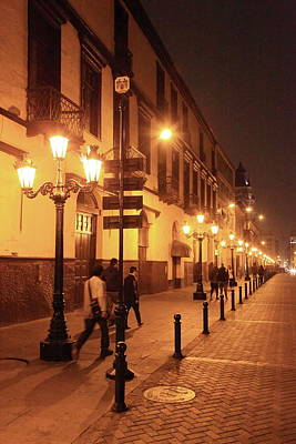Photograph - Street At Night, Lima Peru by Roupen  Baker