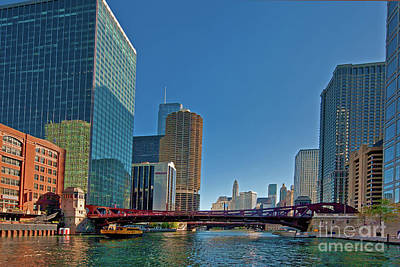 Photograph -  Clark Street Bridge Beautiful Buildings Chicago  by Tom Jelen